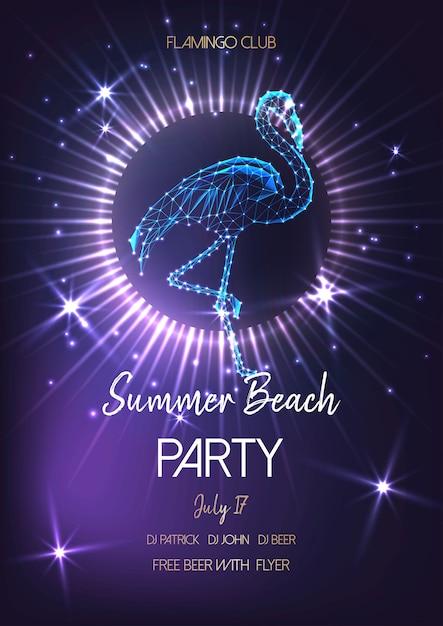 Sommerstrandfestplakat mit glühendem niedrigem polyflamingo. Premium Vektoren
