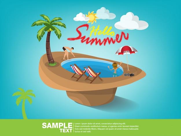 Sommerstrandvektor-fahnendesign. Premium Vektoren
