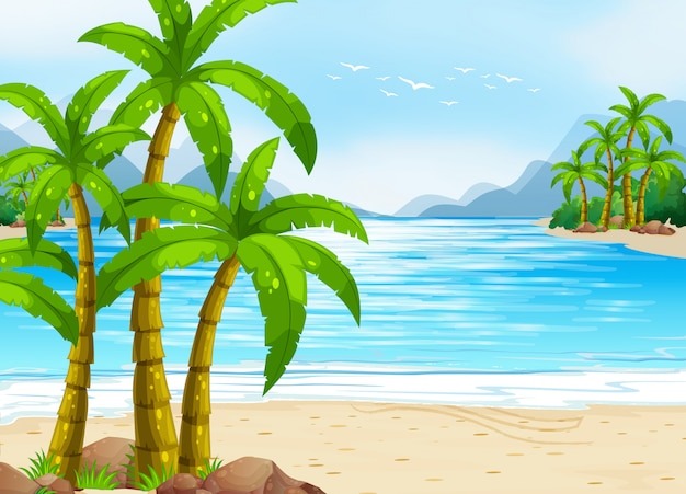 Sommerthema mit strand und meer Premium Vektoren