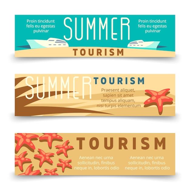 Sommertourismus-fahnenschablone mit yacht und starfish Premium Vektoren