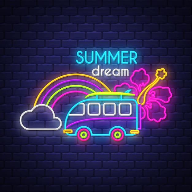 Sommertraum. leuchtreklame schriftzug Premium Vektoren