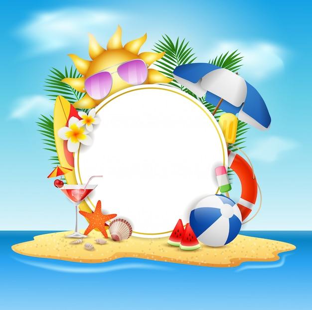 Sommervektorfahnen-konzept des entwurfes in der strandinsel mit hintergrund des blauen himmels der schönheit. vektor-illustration Premium Vektoren