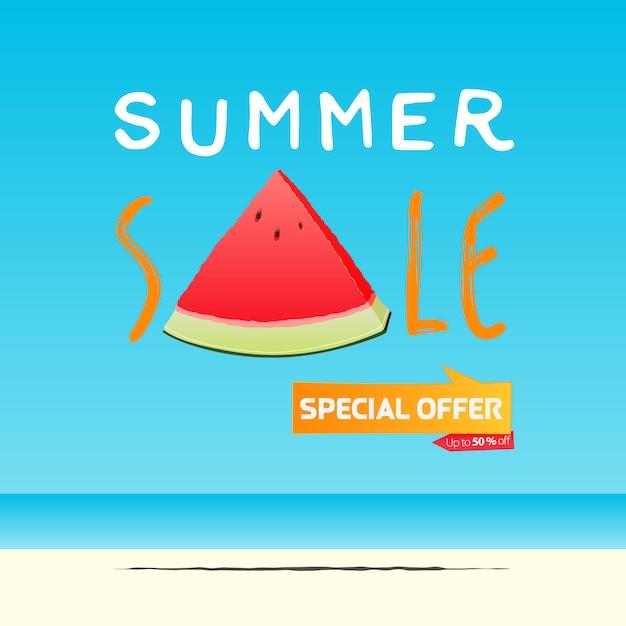 Sommerverkauf banner vorlage design. eine scheibe wassermelone im flachen stil. sommerverkauf typografie auf see. Premium Vektoren