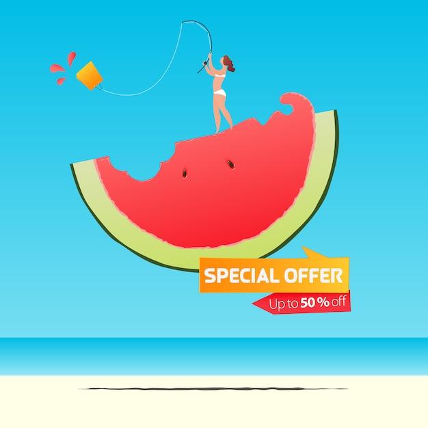 Sommerverkauf banner vorlage design. mädchen, das einkaufstasche auf einer hälfte der wassermelone im flachen design fischt. sommerverkauf typografie auf see. Premium Vektoren