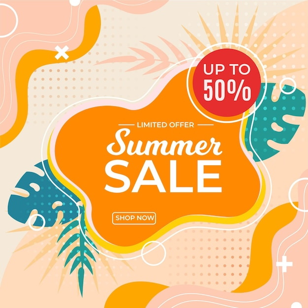 Sommerverkaufsbanner mit rabatt Premium Vektoren