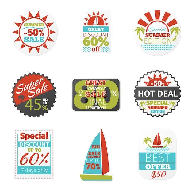 Sommerverkaufsetiketten gesetzt Kostenlosen Vektoren