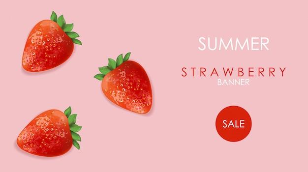 Sommerverkaufsfahne mit erdbeerfrüchten und rosenhintergrund Kostenlosen Vektoren