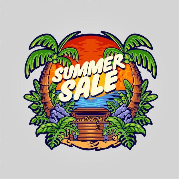 Sommerverkaufsillustration Premium Vektoren
