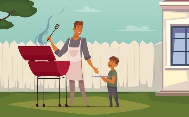 Sommerwochenendengrill auf retro- karikaturplakat des patiorases mit grillgrillvater Kostenlosen Vektoren