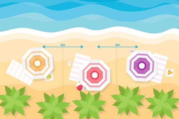 Sommerzeit am strand und soziales distanzierungskonzept Kostenlosen Vektoren