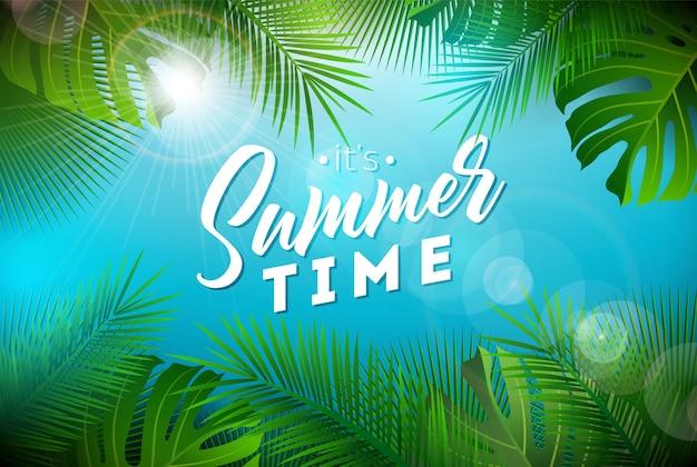 Sommerzeit-illustration mit exotischen palmblättern Premium Vektoren
