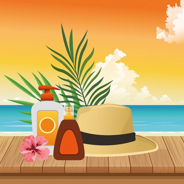 Sommerzeit in den strandferien sun bronzer und sunblock sprayhut-blumenblättern Premium Vektoren