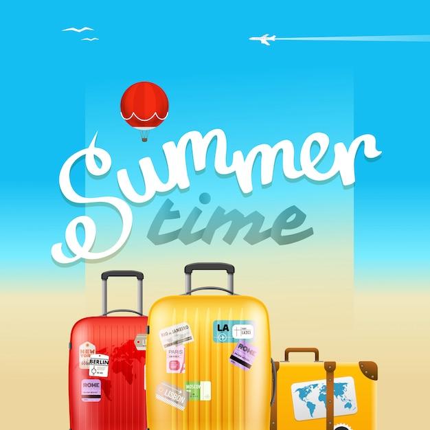 Sommerzeit-plakat Premium Vektoren