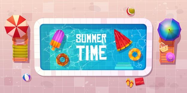 Sommerzeit, pool draufsicht Kostenlosen Vektoren