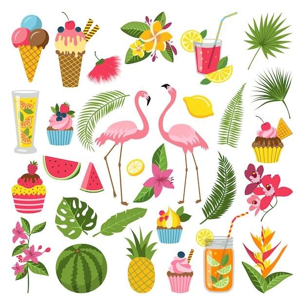 Sommerzeitaufkleber eingestellt für tropische partei. verschiedene symbole in flachen stil. Premium Vektoren