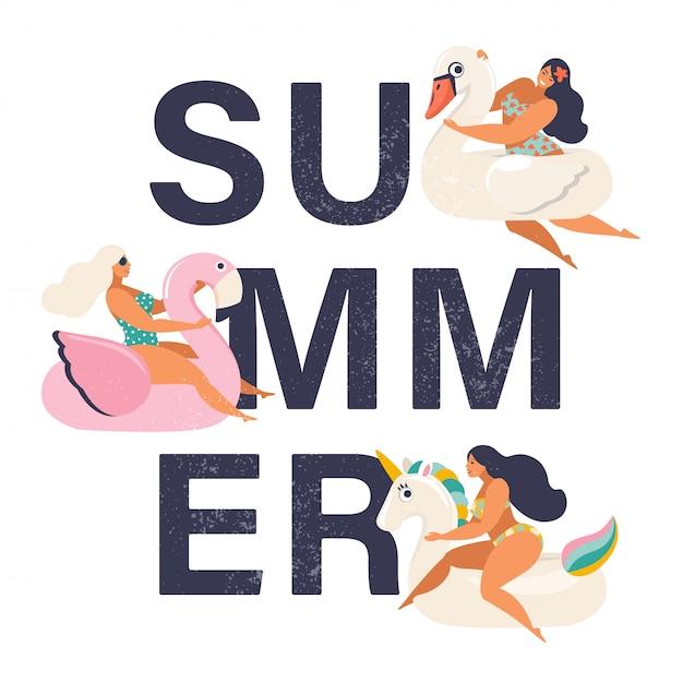 Sommerzeitillustrationskarte mit stift herauf mädchen. Premium Vektoren