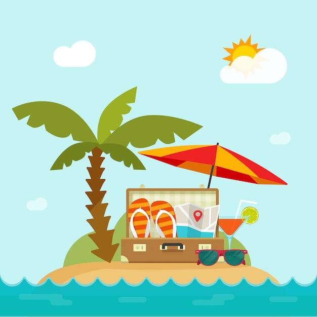 Sommerzeitreise im urlaubsinselstrand mit reisesachen vector illustration Premium Vektoren