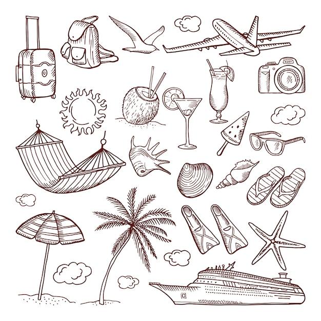 Sommerzeitthema im handgezeichneten stil. doodles icon set. sammlung von sommer handgezeichneten ikonenillustration Premium Vektoren