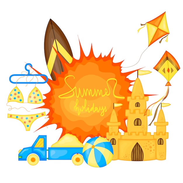 Sommerzeitvektor-fahnendesign und bunte strandelemente. vektor-illustration Premium Vektoren