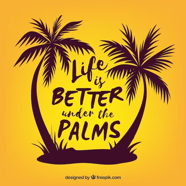 Sommerzitathintergrund mit schattenbild von palmen Kostenlosen Vektoren