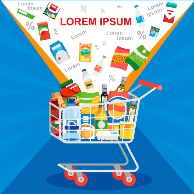Sonderangebot auf supermarkt-verkaufs-vektor-konzept Premium Vektoren
