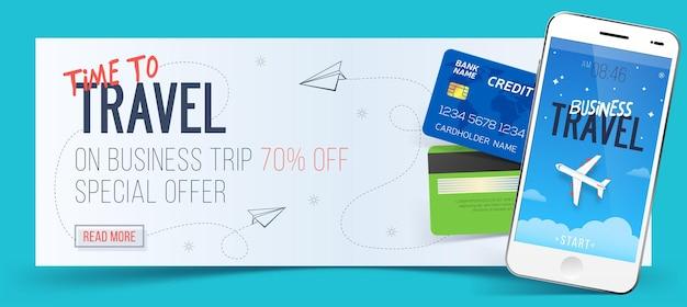 Sonderangebot für geschäftsreisen. geschäftsreise banner. smartphone und kreditkarten. flugreisekonzept. geschäftsreiseillustration. Premium Vektoren