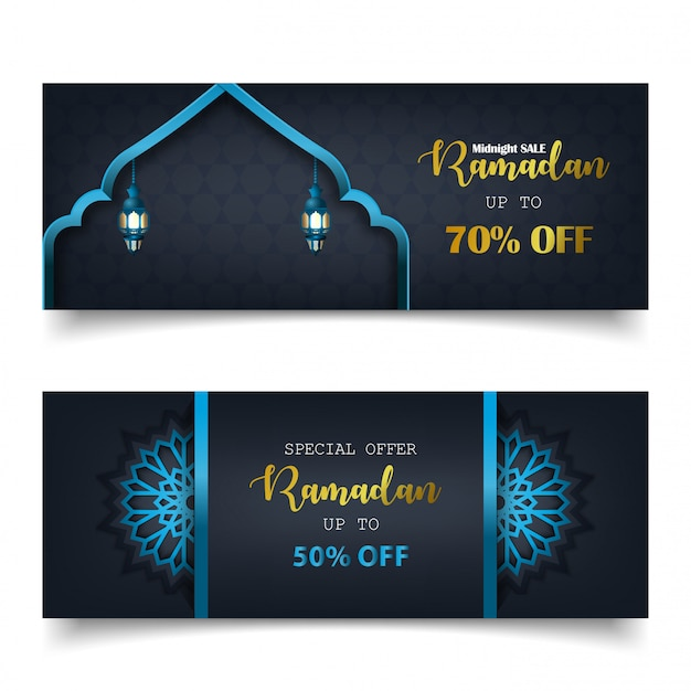Sonderangebot ramadan sale islamic banner template Premium Vektoren