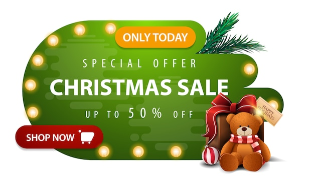 Sonderangebot, weihnachtsverkauf, bis zu 50% rabatt, grüne rabatt-banner in abstrakten flüssigen formen Premium Vektoren