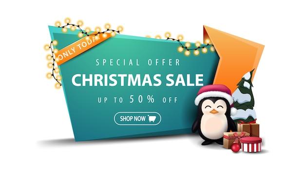 Sonderangebot, weihnachtsverkauf, bis zu 50% rabatt Premium Vektoren