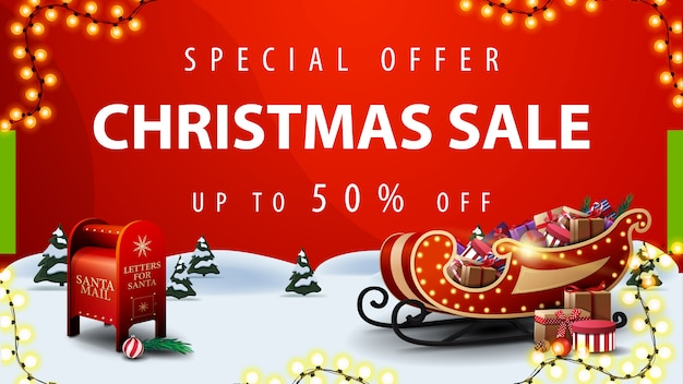 Sonderangebot, weihnachtsverkauf, rote rabattfahne mit karikaturwinterlandschaft Premium Vektoren
