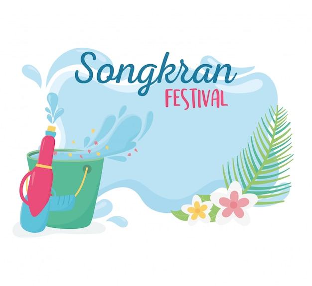 Songkran festival plastik wasserpistole eimer blumen Premium Vektoren