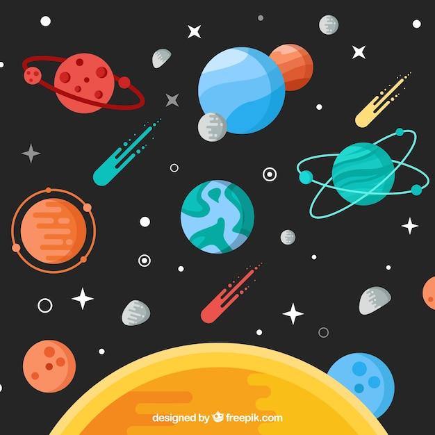 Sonne hintergrund mit planeten und meteoren in flachen design Premium Vektoren
