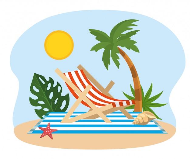 Sonne mit palme und sonnenstuhl mit muschel und seestern Premium Vektoren