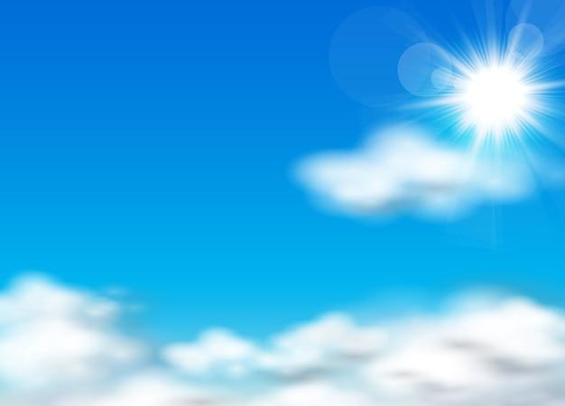 Sonne und himmel hintergrund Premium Vektoren