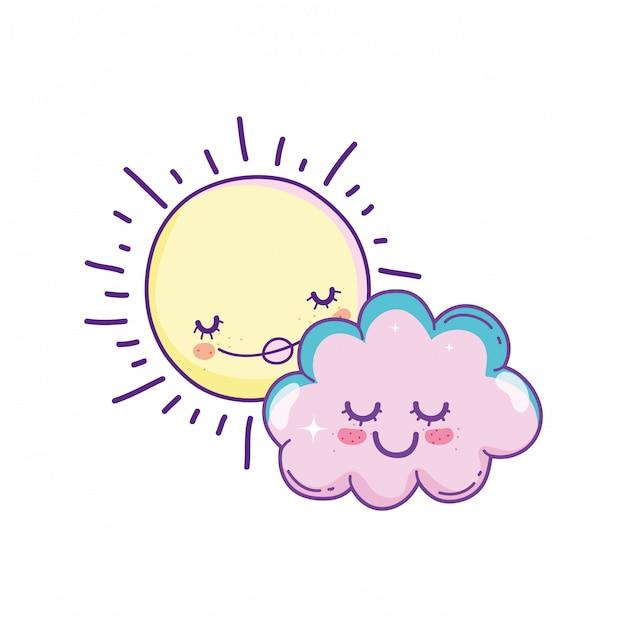 Sonne und wolken cartoons Premium Vektoren