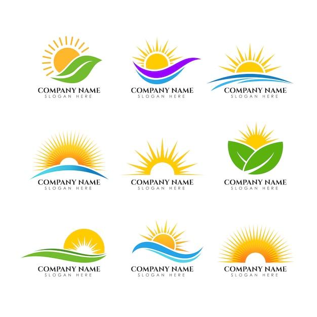 Sonnenaufgang logo vorlage. sonnenlogo vorlage Premium Vektoren
