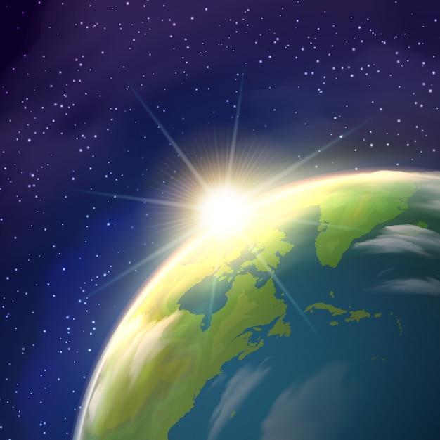 Sonnenaufgang-weltraum-ansicht-realistisches plakat Kostenlosen Vektoren