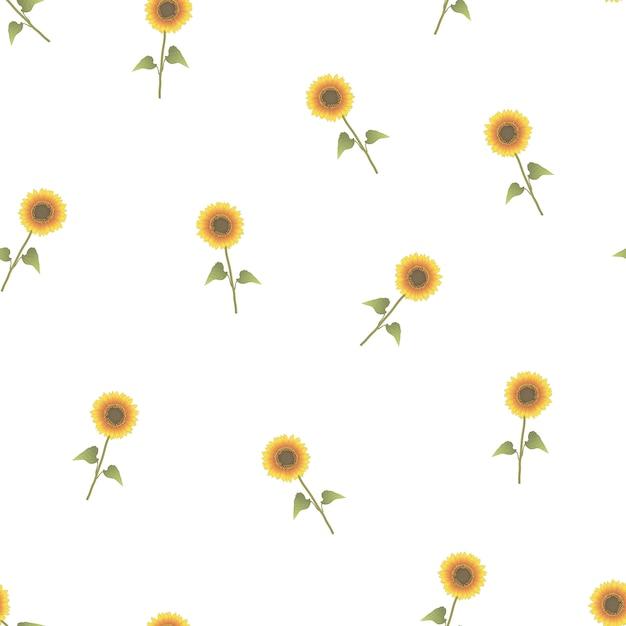 Sonnenblume nahtlos auf weißem hintergrund Premium Vektoren