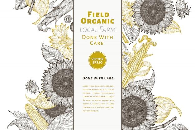 Sonnenblume und mais gesign vorlage. sonnenblume banner Premium Vektoren