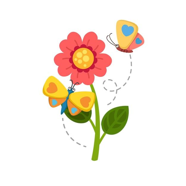 Sonnenblume und schmetterling Premium Vektoren