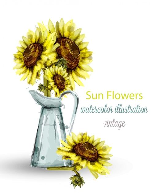 Sonnenblumen blumenstrauß aquarell Premium Vektoren