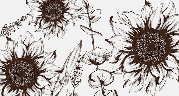 Sonnenblumen strichzeichnungen. handgezeichnete dekor textur vintage-stile Premium Vektoren