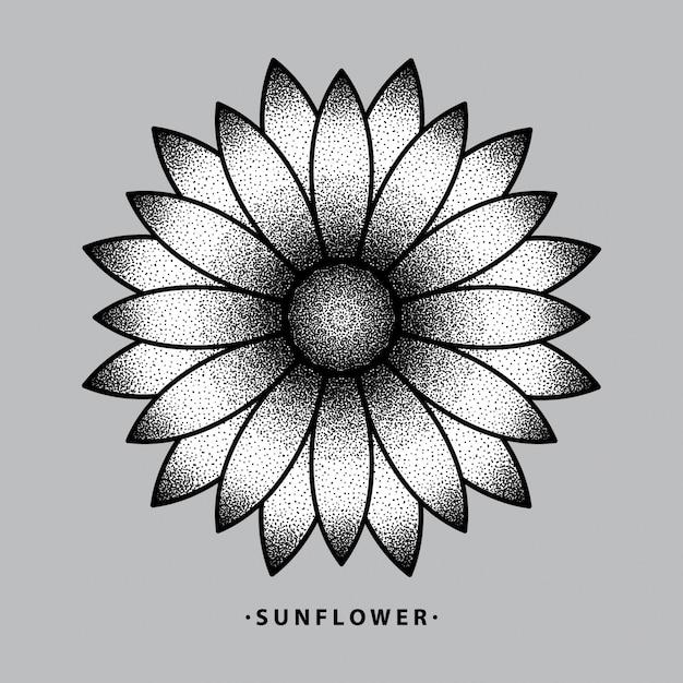 Sonnenblumen-tattoo-design Premium Vektoren