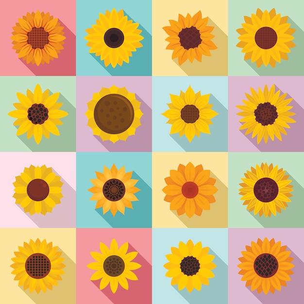 Sonnenblumenikonen eingestellt, flache art Premium Vektoren