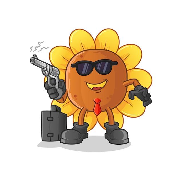 Sonnenblumenmafia mit waffencharakter Premium Vektoren