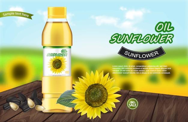 Sonnenblumenöl realistische banner Premium Vektoren