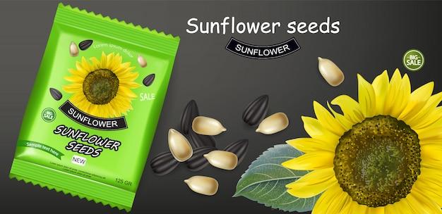 Sonnenblumensamen paket banner Premium Vektoren