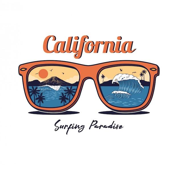 Sonnenbrille mit sommer ozean meer strand, welle, palme, sonnenuntergang, berg Premium Vektoren