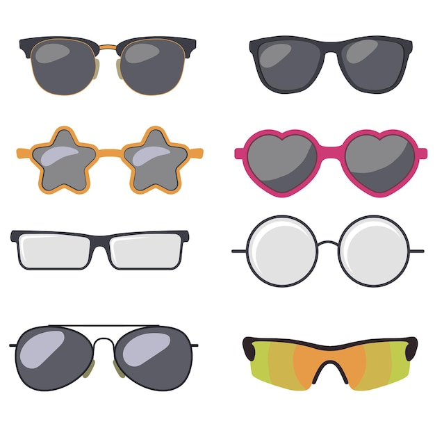 Sonnenbrille set, sommerbrille sonnenschutz sonnenbrille. Premium Vektoren