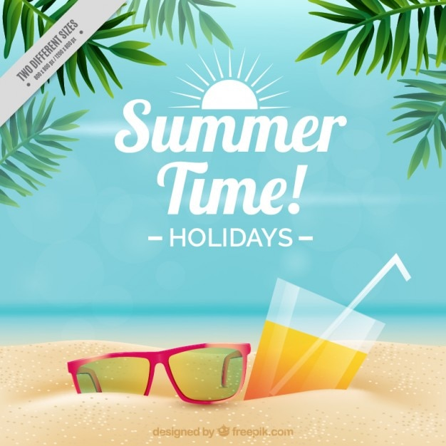 Sonnenbrille und getränk auf dem sand hintergrund Premium Vektoren